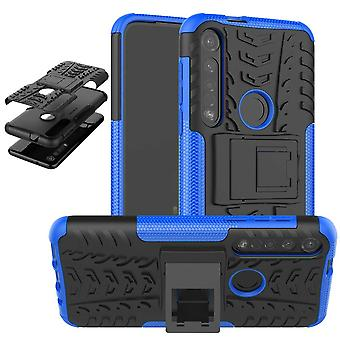 Pour Motorola Moto G8 Plus Hybrid Case 2 pièces Outdoor Blue Case Sleeve Cover Protection