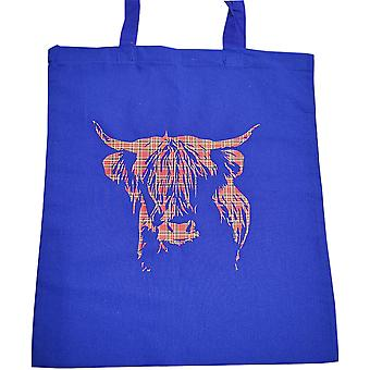 Tote Bag Highland Cow - Blue & Red Tartan by Sweet Pea Designs