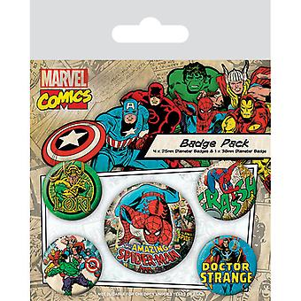 Marvel Retro Spider-Man Pin Button Badges Set