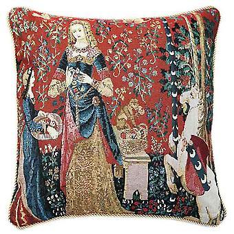 Lady and unicorn sense of smell cushion cover | art cushions 18x18 | ccov-art-lu-sm
