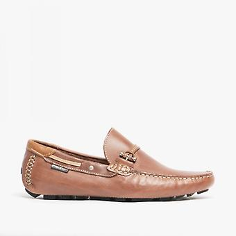 Avant Emerson Mens Cuir Penny Driving Loafers Brown