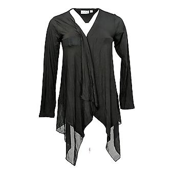 Joan Rivers Classics Collection Women's Top Draped Cardigan Black A263873