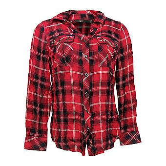G.I.L.I. got it love it Women's Top Dyed Woven Shirt w/ Grommet Red A310340