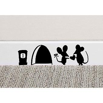 GNG Mouse Couple Home Wall Art Sticker Vinyl decal stickers For Home Skirting Board