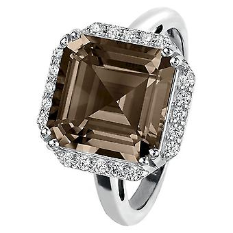 Jacques Lemans - Silver ring with Smoky Quartz - SE-R104E54 - RW: 54