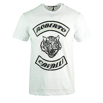 Roberto Cavalli Tiger Head White T-Shirt