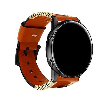 Galaxy Watch Active 1/2 Bracelet Cowhide Leather Camel Pin Buckle Clasp