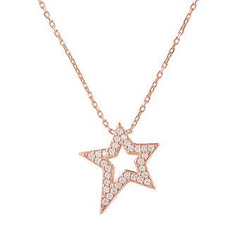 Latelita 925 argento ciondolo stella Collana oro rosa zirconi