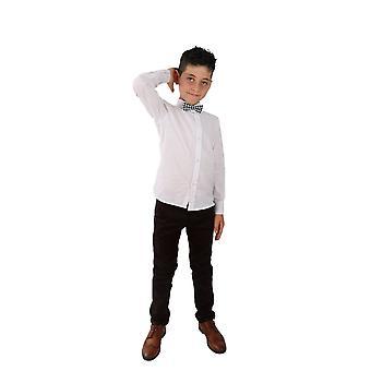 Boys Linen White Roll Up Sleeve Shirt