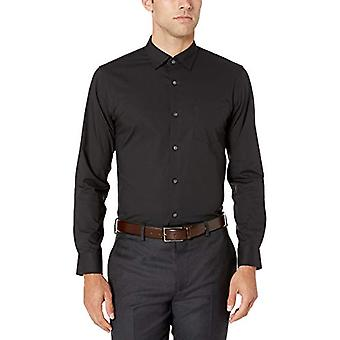 Essentials Men's Slim-Fit Wrinkle-Resistant Stretch Dress Shirt, Black...