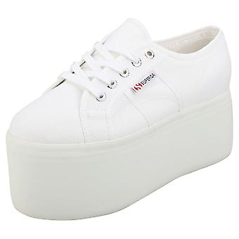Superga 2802 Womens Flatform Trainers in White