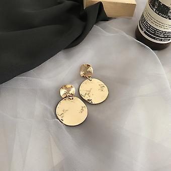 Złote okrągłe kolczyki drop disc