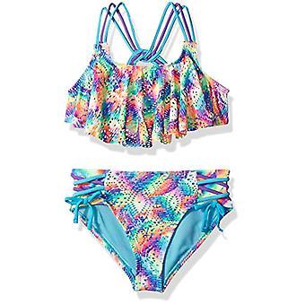 Angel Beach Big Girls' Flounce Strap Detail Bikini Swimsuit Set, Multi Color ...