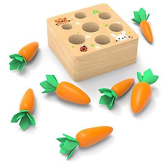 Houten Blok Pulling Carrot Game Montessori Kids Speelgoed, Block Set Cognitie