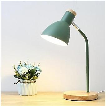 5 Colours Wood Table Lamp, Metal Shade Desk Light Table Ffor Home