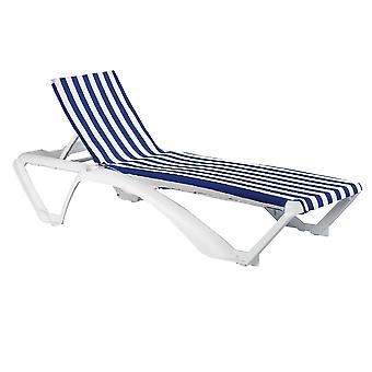 Resol 2 Piece Marina Garden Sun Lounger Bed Set - Adjustable Reclining Outdoor Patio Canvas Furniture - Blue Stripe