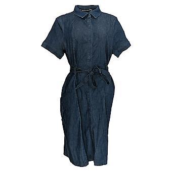 BROOKE SHIELDS Tijdloze jurk short-sleeve denim shirt stijl blauw A352811
