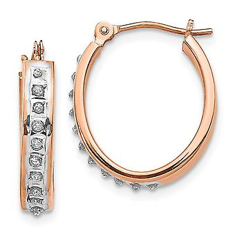 14k Rose Gold Polished Hinged post Diamond Fascination Oval Hinged Hoop Earrings Jewelry Gifts for Women