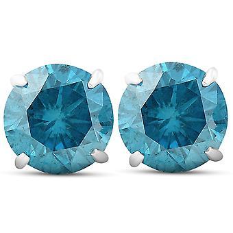 4.10 Ct Blue Diamond Borchie 14k Oro Bianco