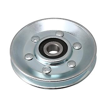 V-Shape Iron Bearing Cable Pulley for Industry Pulley 73x10x11mm Silver