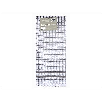 Le Chateau Textiles Terry Tea Towel Grey/Wte Check HT21