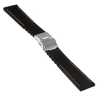 Strapsco rubber strap with stitching & clasp - quick release