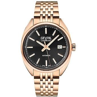 Gevril Men's Five Points Black Dial Rose relógio de ouro