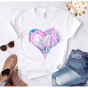Heart Flower Print Ladies Casual Basis O-collar Shirt