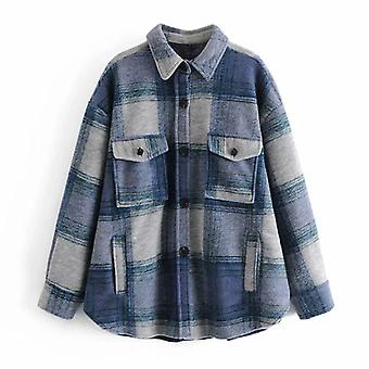 Women Vintage Plaid Woolen Jacket Coat With Pockets