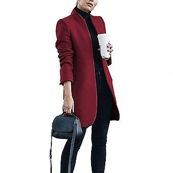 الخريف / الشتاء الصلبة اللون حامل طوق المرأة يمزج سترة معطف طويل Woolen