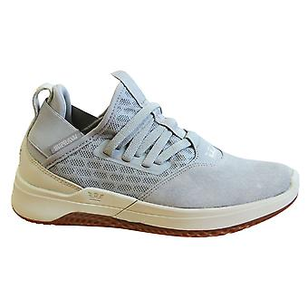 Supra Titanium Grey Bone Leather Mesh Lace Up Mens Running Trainers 05673 046