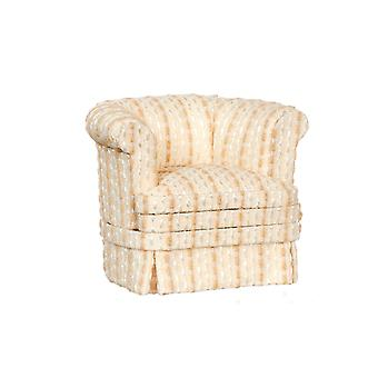 Dolls House Cream & Tan Stripe Tub Fauteuil Platinum Living Room Meubles