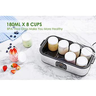 Electric Yoghurt Maker, Aicok Yoghurt Maker Machine Stainless Steel with 8 Glass Jars 1440ml