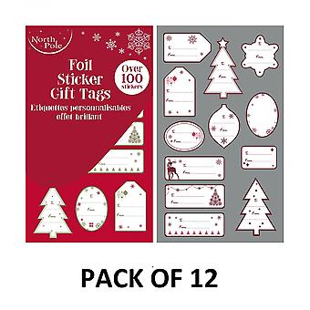 Eurowrap Contemporary Christmas Sticker Tags (Pack of 1200)