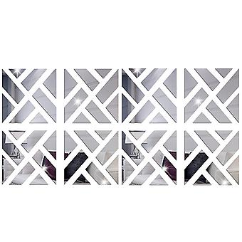 TRIXES 8PC 3D Geometric Mirrored Pattern  Colour Silver Wall Art Decoration