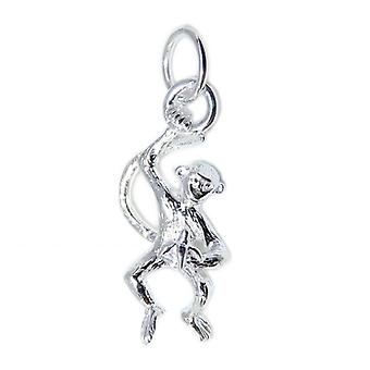 Monkey Hanging Eating Banana Sterling Silver Charm .925 X1 Monkies Charms - 8631