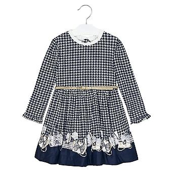 Mayoral girls navy blue ruffled collar dress 4963