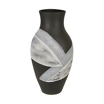 """Keramik 18"""" bemalte Vase, Matt schwarz"""