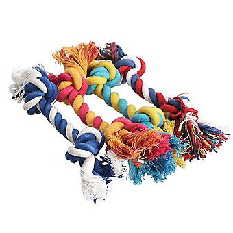 Pet Dog Puppy Cotton Chew Knot Toy Durable Braided Bone Rope Random Color