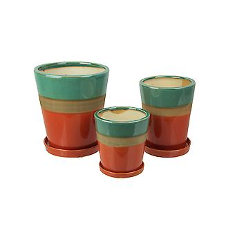 Set of 3 Colorful Blue and Orange Planter Pots With Saucers 7 Inches High
