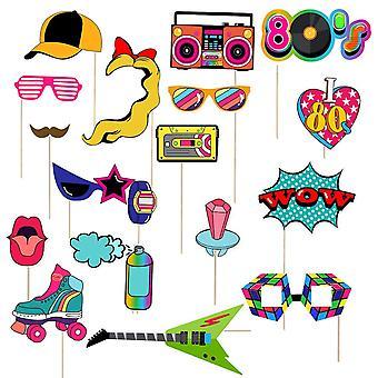 80's Stijl Pop Retro Thema Verjaardag Foto Booth Stand Rekwisieten 18st