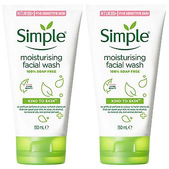 2x of 150ml Simple Kind to Skin Moisturising Facial Wash for Sensitive Skin