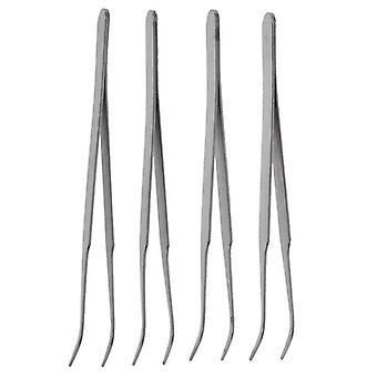 Hopea sävy 5 tuuman pituus metalli taivutettu kärki pinsetit (hopea)