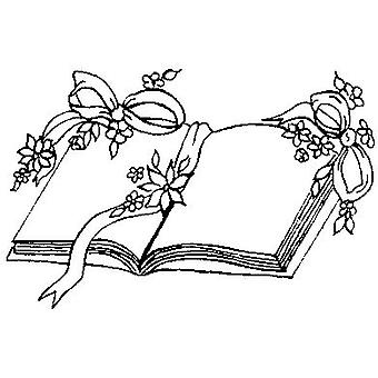 Open Book Wood Mounted Stamp