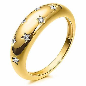 Star Carved Ring Zircon Inlaid Brass Finger Ring For Women Golden