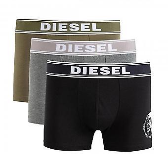 Diesel Shawn 3 Pack 3 Boxer Trunks Shorts Grey Marl, Black & Khaki