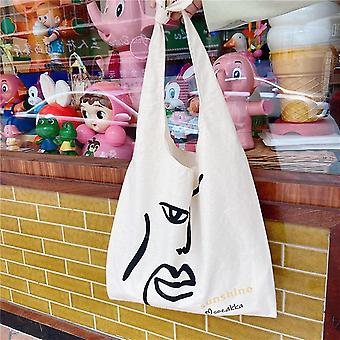 Personlighed Tynd lærred taske med interessante linjer Studerende Brug Tutorial Bag