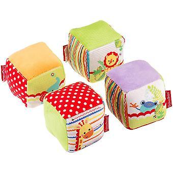Fisher Price Baby Cube Set 4 piezas multicolor bebé juego cubo tela suave