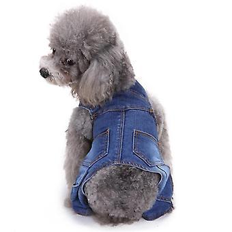 Hundekatzenkleidung Denim Hosenträger Jumpsuit vierbeinig Herbst und Winter