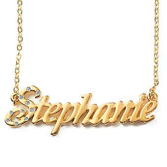 """L Stephanie - 18-karaats vergulde ketting, met aanpasbare naam, verstelbare ketting van 16 """"- 19"""", in koninklijke verpakking"""